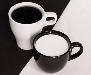coffee, black, and white image