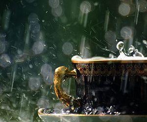 rain, cup, and tea image