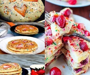 pancakes, strawberry, and yummy image
