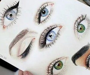 blue, draw, and eyes image