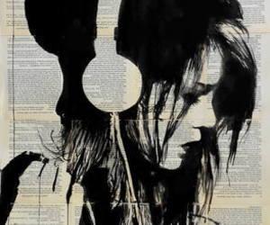 music, art, and headphones image