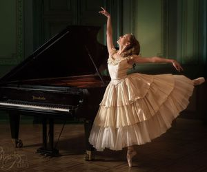 ballerina, ballet, and piano image