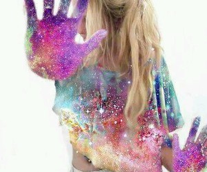 girl, galaxy, and blonde image