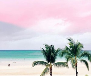 beach, pink, and love image