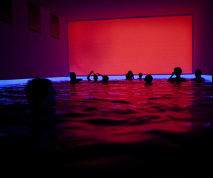 red, pool, and light image