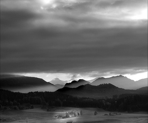 black and white, mountain, and nature image