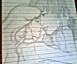 art, couple, and draws image