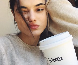 girl, coffee, and beauty image