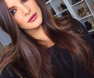 brunette, hair, and makeup image