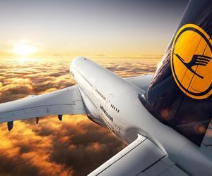 airplane, Lufthansa, and plane image