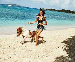 beach, girl, and pony image