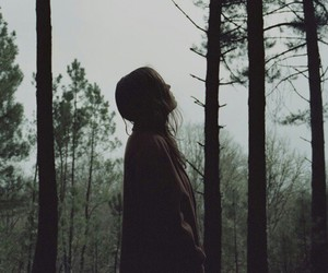 girl, forest, and alone image