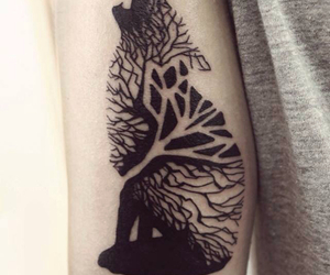 tattoo, wolf, and tree image