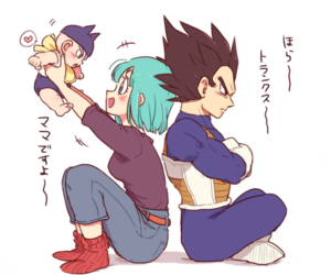 trunks, vegeta, and bulma image