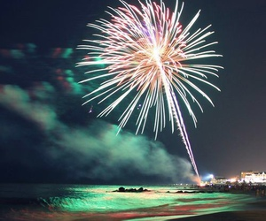 fireworks, beach, and night image