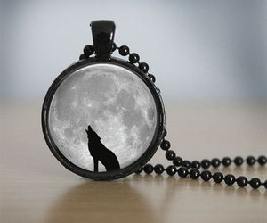 jewelry, wolf, and moon image