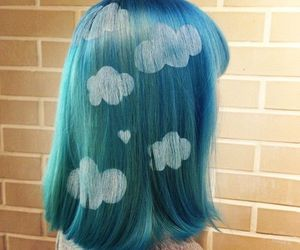 hair, blue, and clouds image