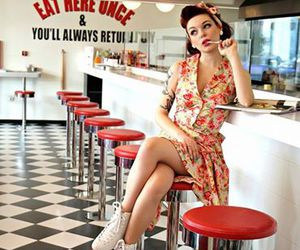 girl, rockabilly, and rollerskates image