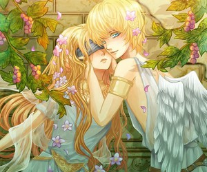 anime, blonde, and wings image