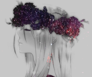 anime, anime girl, and galaxy image