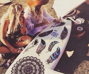 summer, surf, and girl image