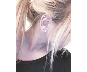 black, blonde, and ear image