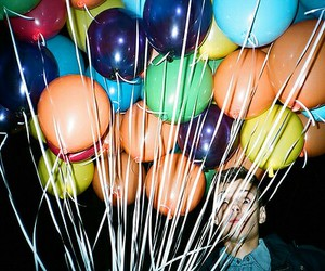 balloons, boy, and grunge image