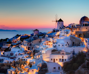 Greece, santorini, and sunset image