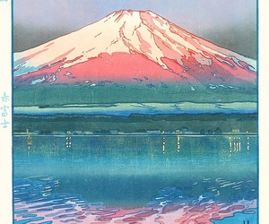 art, japan, and mountains image