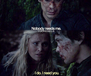 the 100, bellarke, and quote image