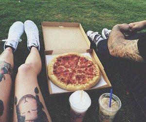 pizza, couple, and tattoo image