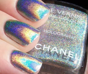 nails, chanel, and holographic image