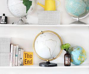 decoration, books, and globe image