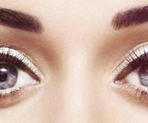 black, blue, and eyeliner image