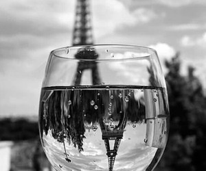 black and white, drinking glass, and wine image