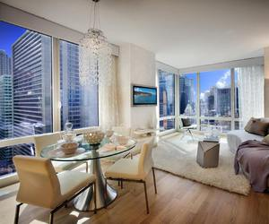 apartment, city view, and decor image