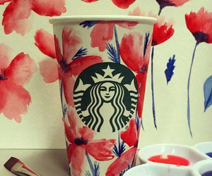 flowers, red, and starbucks image