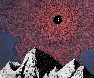 mountains, moon, and art image