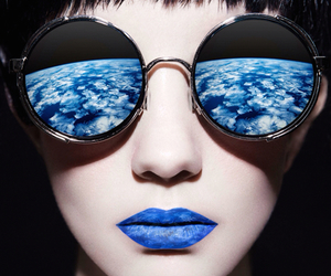 blue, glasses, and makeup image
