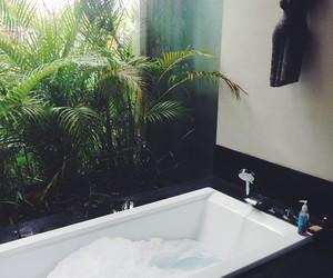 bath, bathroom, and plants image