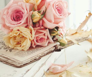 book, flowers, and Letter image