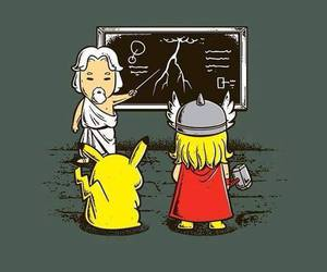 thor, pikachu, and funny image
