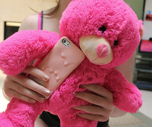 pink, bear, and iphone image