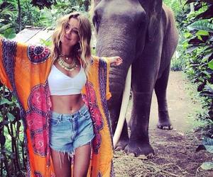 elephant, girl, and hippie image