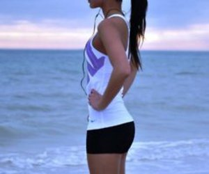 girl, fitness, and beach image