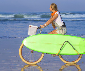 beach, cycle, and girl image