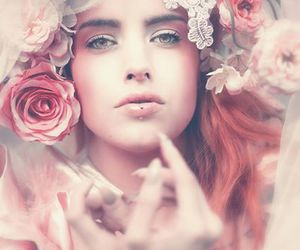 woman, beautiful, and flowers image