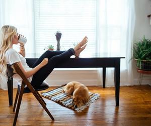 girl, dog, and coffee image