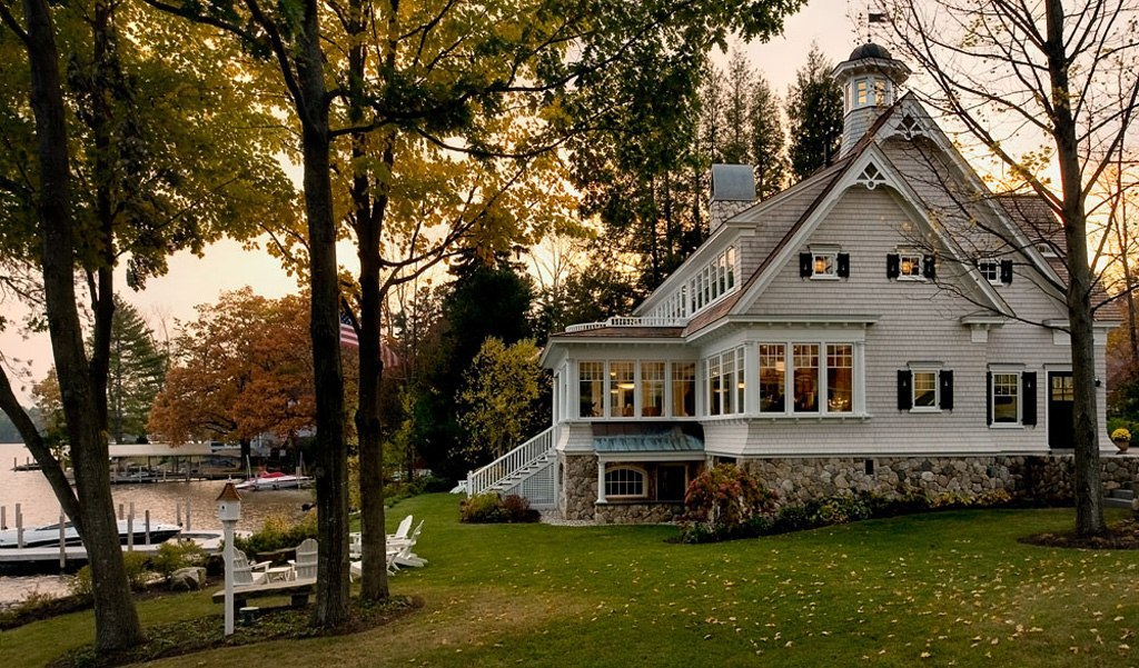 house, home, and lake image