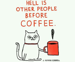 hell, cat, and coffee image